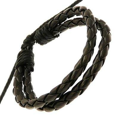 Mens Black Leather Double Strap & Cord Surf Wristband Bracelet Surfer Plaited