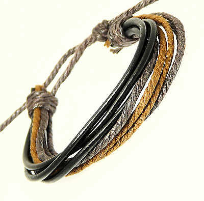 Multi Black Leather Strap Coloured Cords Leather Bracelet Surf Surfer Wristband