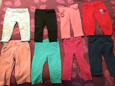 JOB LOT x8 Girls Baby Trousers 12-18 Months
