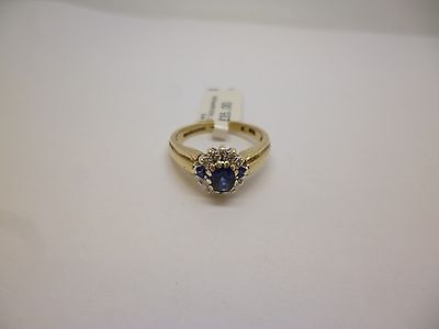 9ct yellow gold beautiful vintage style sapphire and diamond flower cluster ring