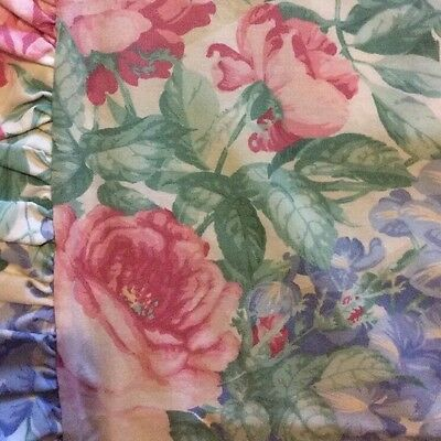 Sanderson Vintage Frilled Pillowcase Cream With Blue Wisteria + Pink Roses
