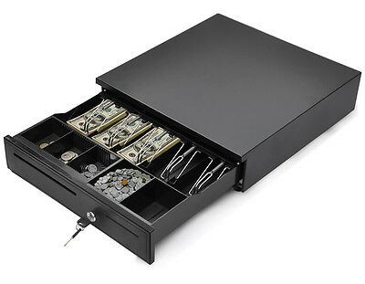 New Black Compatible Cash Drawer Box Works POS Printers w/ 5 Bill & 5 Coin Tray