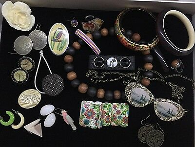Lot  Of Quirky Modern Jewellery Rings Bracelets Bangles Vintage Glasses Necklace