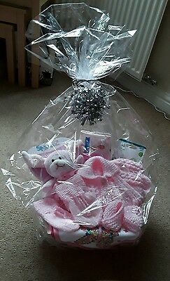 Newborn Gift basket baby girl hand knitted items Christmas, baby shower