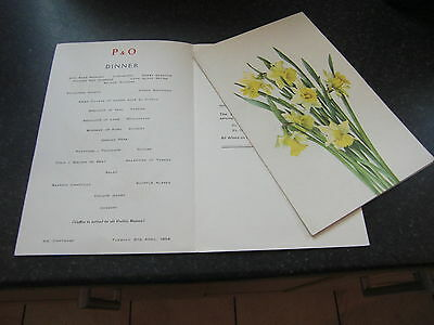 P & O Line Ss Carthage Dinner Menu Card 1954 Cover Pastel Of Welsh Daffodils