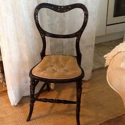Victorian Ebonised Mother of Pearl Nursing Chair