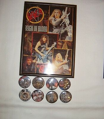 Slayer Job Lot 8  x Badges + Framed Photo #2