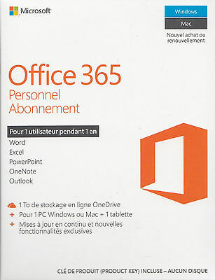 Microsoft Office 365 Personnel - 1 PC Windows/Mac+ 1 tablette - Abonnement 1 an