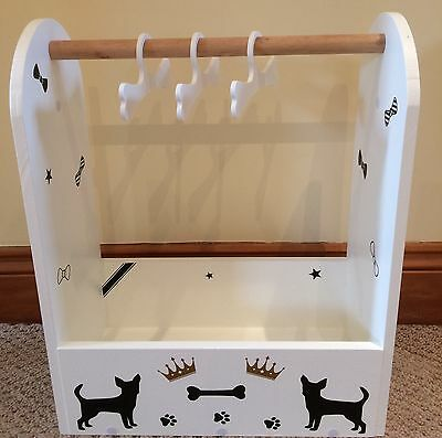 Pet Grooming Wardrobe Storage Lap Dog Clothes Hanger Dress Up Rail Bed Chihuahua