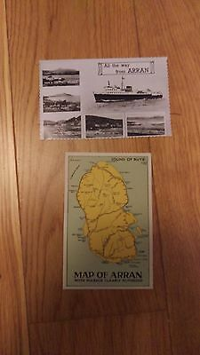 2 Postcards All The Way From Arran/Map of Arran Real Photograph 1940-50