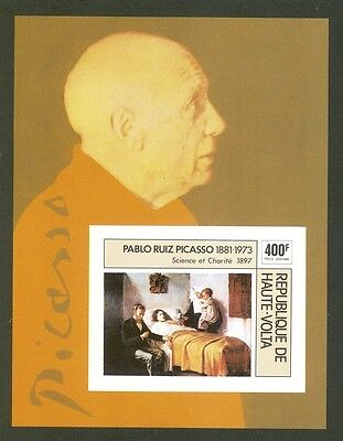 Picasso On Proof Imperf Souv Sheet Upper Volta #C222 MNH