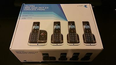 BRAND NEW Telstra 9850 QUAD DECT 6.0 Cordless Phone Answering Machine Handsfree