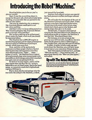 1970 Amc Rebel Machine ~ Original Muscle Car Ad