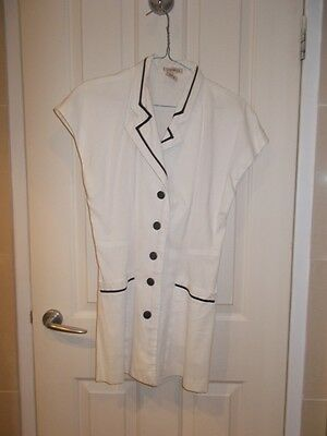 """""""Giorgi"""" Jacket top long - white with black buttons & black trim piping Size 10"""