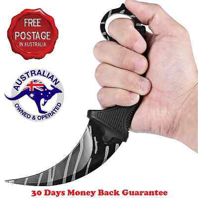 NEW  KARAMBIT NECK KNIFE Survival Hunting Fixed Blade+Sheath Black Tiger Tooth