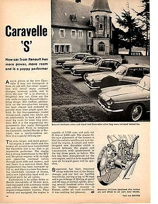 1962 Renault Caravelle 's'  ~  Nice Original 2-Page Article / Ad