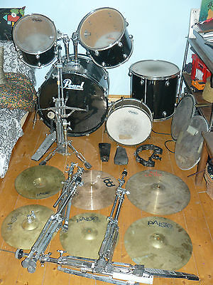 batterie pearl tres gros lot pieds cymbales cloche sonor meinl