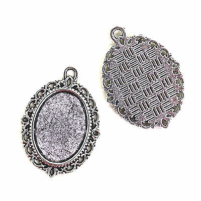 5 ANTIQUE SILVER TONE CABOCHON SETTINGS 18 x 13mm Inner tray