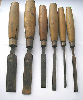 6 Vintage Wood Handle  Wood Turning   Chisels &  Gouge Well Used Lot 3
