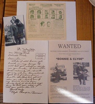 bonnie and clyde signed wanted true crime outlaws prohibition gangster