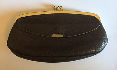 Vintage Brown Leather Change Purse Zipped Compartment - Made In England