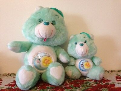 Adorable 80's Vintage Bedtime Bear Care bear Duo Large and Small