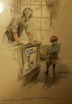 1916 CREAM of WHEAT print COLOR AD BREWER Art Boy financially embarrassed store