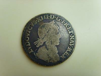 1643 A FRANCE SILVER 1/12 ECU LOUIS XIII FRENCH COIN, 20mm, 2.1g.