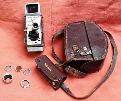 VINTAGE G B - Bell & Howell 624 8mm Cine Camera with filters and in leather case