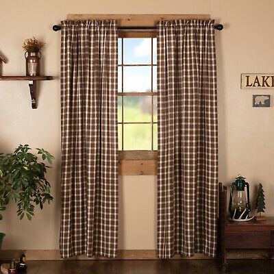 """Burlap Natural with Red Check Scalloped 63"""" PANEL Set Country Primitive CURTAINS"""