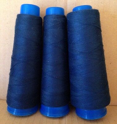 Navy Blue Regency Thread Polyester Sewing Thread x 3 Part Used Large Spools