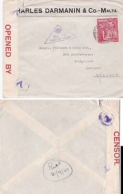 Malta 1940 Censored cover from Valletta to UK