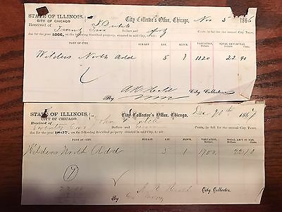 1866 And 1867 Chicago Illinois Receipt Tax Document