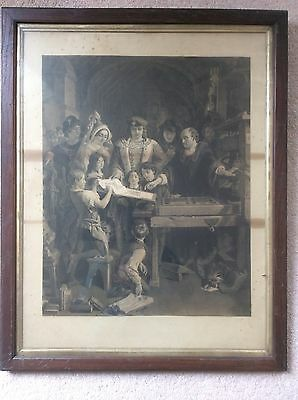 Large Antique Picture In antique Frame
