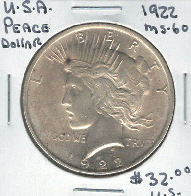 United States USA 1922 Silver Peace Dollar MS60