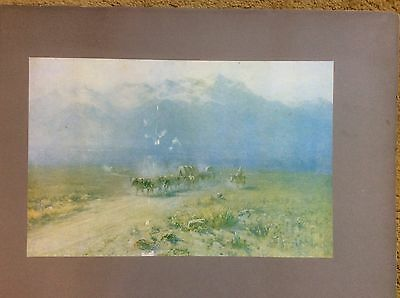 Antique Painted Print Of Salt Lake Valley by J Young 1900