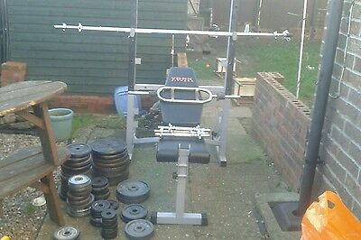 york weight bench with bars and plates
