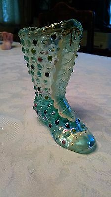 FENTON GLASS Boot/Shoe/Slipper 95th anniversary Soft Green with Gold Accents