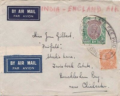 "India 1933 Air mail cover has ""Late Fee/BCMD/4 Sept 33date?Foreign to UK"