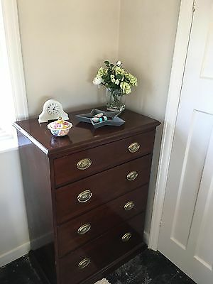 Victorian Solid Pine Chest of Drawers in Mahogany French Polish Finish