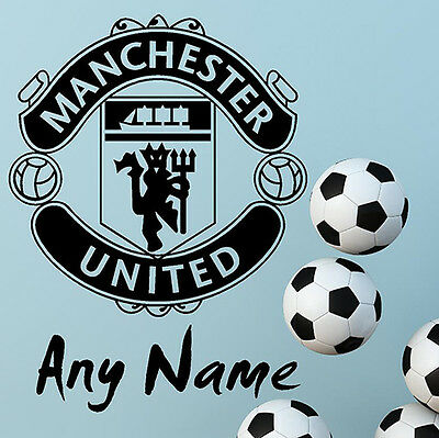 Manchester United FC Football Wall Stickers Wall Art Decal PERSONALISED NAME N70