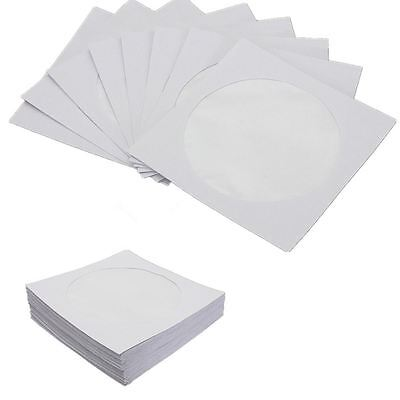 100 Paper CD DVD Disc Sleeves Case Cover Envelopes with Window & Flap [100 Pack]