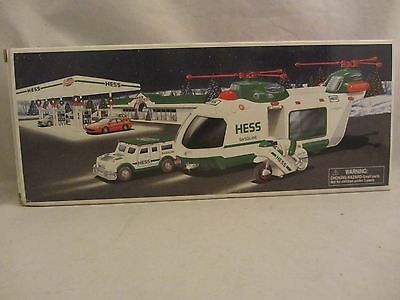 Hess  2001 Helicopter with Motorcycle and Cruiser  Limited Release  NIB  (117)