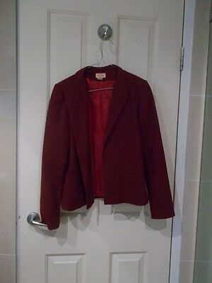 SOLITAIRE burgundy lined blazer jacket MADE IN AUSTRALIA Size 10 PURE WOOL