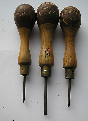 A Group Of 3 Vintage Wooden Handle  Bradawl's    Marples ?  Lot  8