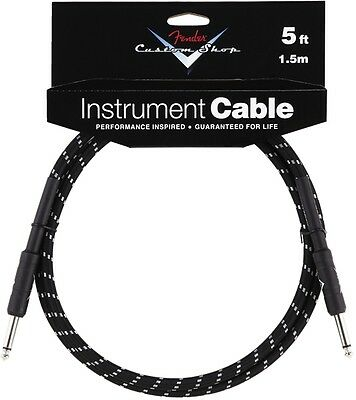 Fender Custom Shop 5ft Instrument Cable Black Tweed - 099-0820-034