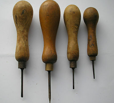 A Group Of 4 Vintage Wooden Handle  Bradawl's      Lot  9