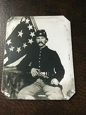 Civil War Military Soldier With Pistol & Flag TinType C651NP