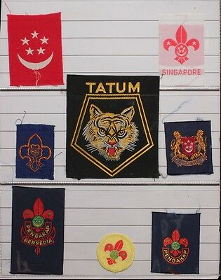 Scout Badges Singapore District  Malaya coll'n of 50 diff older badges .