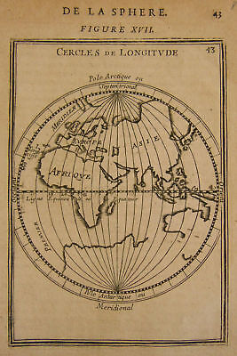 1683 Genuine Antique Map Eastern Hemisphere. Early Longitude lines. A M Mallet